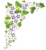 Large Corner Violet Ivy Wall Stencil