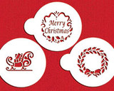 Holiday Christmas Greetings Cake Stencil