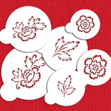 Brush Embroidery Flower Cookie Stencil Set