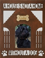 """A House is Not a Home Without A Dog Wooden Picture Frame (4"""" x 6"""" Photo)"""