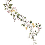 Porcelain Vine Flower and Berry Wall Stencil by DeeSigns