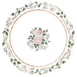 Entwined Circle of Rosebuds Wall Stencil by DeeSigns