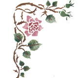 Rosebud Corner Wall Stencil by DeeSigns