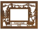 "Personalized 9"" x 12"" Whitetail/Mule Deer Scenic Wood Picture Frame (4"" x 6"" Photo)"
