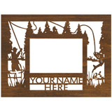 """Personalized 9"""" x 12"""" Fishing Scenic Wood Picture Frame (4"""" x 6"""" Photo)"""