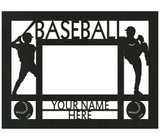 """Personalized 9"""" x 12"""" Baseball Wood Picture Frame (4"""" x 6"""" Photo)"""
