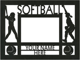 "Personalized 9"" x 12"" Softball Wood Picture Frame (4"" x 6"" Photo)"