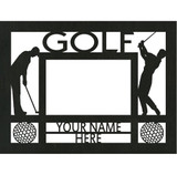 "Personalized 9"" x 12"" Golf (Men's) Wood Picture Frame (4"" x 6"" Photo)"