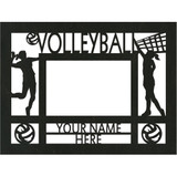 """Personalized 9"""" x 12"""" Volleyball (Women's) Wood Picture Frame (4"""" x 6"""" Photo)"""