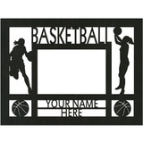 """Personalized 9"""" x 12"""" Basketball (Women's) Wood Picture Frame (4"""" x 6"""" Photo)"""