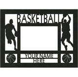 "Personalized 9"" x 12"" Basketball (Men's) Wood Picture Frame (4"" x 6"" Photo)"