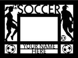 """Personalized 9"""" x 12"""" Soccer (Women's) Wood Picture Frame (4"""" x 6"""" Photo)"""