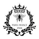 Paris Bee and Crown Wreath Stencil - 10 mil