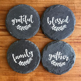 Family/Blessed/Gather/Grateful Slate Coaster -Set of Four
