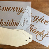 Merry Christmas/ Give Thanks Stencil and Wood Tag Kit