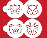 Large Baby Woodland Animals Cookie Stencil Set