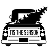 Tis the Season Vintage Truck with Tree Stencil (10 mil plastic)