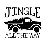 Jingle All The Way Vintage Truck with Tree Stencil (10 mil plastic)