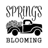 Spring's Blooming Vintage Truck with Flowers Stencil (10 mil plastic)