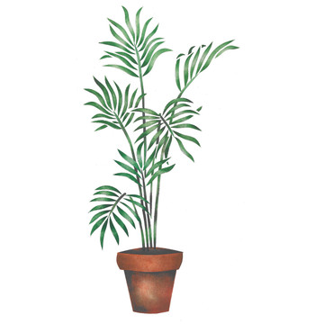 Large Potted Palm Wall Stencil