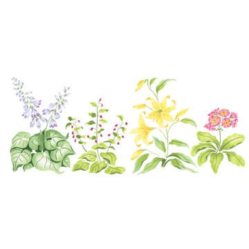 Hosta Mix Flower Wall Stencil