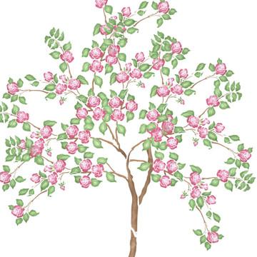 Rose Tree Wall Stencil