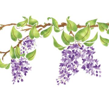 Lilac Branch Border Wall Stencil