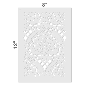 Small Overall Damask Wall Stencil Size