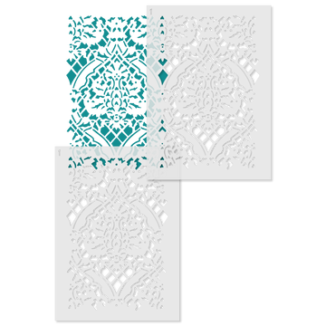 Small Overall Damask Wall Stencil Repeat