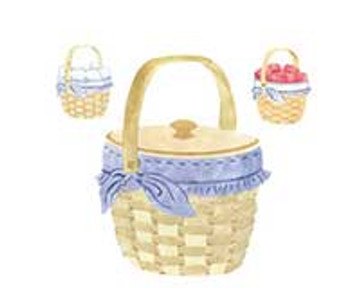 Small Basket with Apples and Eggs Wall Stencil