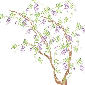 Wisteria Tree Wall Stencil
