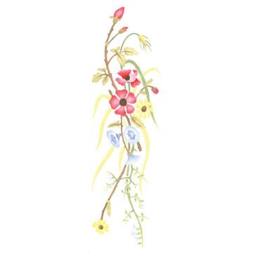 Poppy Flower Spray Wall Stencil