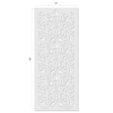 Large Scroll Panel Wall Stencil Size