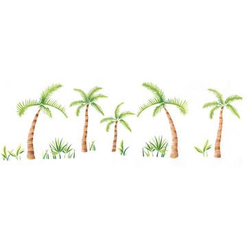 Palm Tree Border Wall Stencil