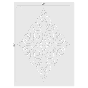 Large French Diamond Medallion Wall Stencil Size