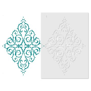 Large French Diamond Medallion Wall Stencil Repeat