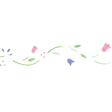 Small Colonial Floral Border Wall Stencil