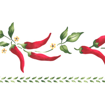 Chili Pepper Wall Stencil Border
