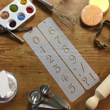 """1.25"""" Contemporary Numbers Cake Stencil"""