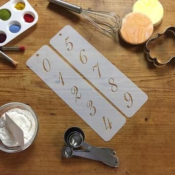 """1.25"""" Script Numbers Cake Stencil"""