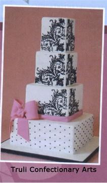 Feathered Scroll Corner Cake Stencil