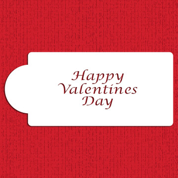 Happy Valentines Day Business Card Cake Stencil
