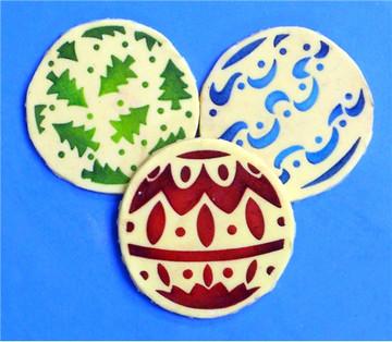 Mini Christmas Balls Cupcake Stencil