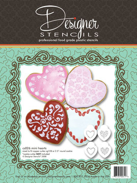 "Mini Hearts Cookie Stencil Set 2""  (no cutter)"