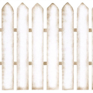 Four Posts Picket Fence Wall Stencil