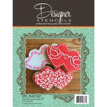 Double Heart Cookie Cutter & Stencil Set