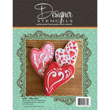 Folk Heart Cookie Cutter & Stencil Set