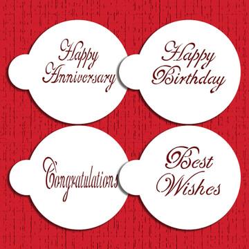 Script Celebration Cake Stencil  Set