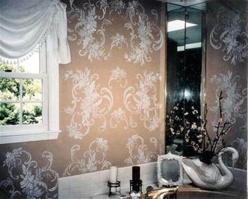 Floral Damask Stencil by Jeff Raum on Bathroom Wall