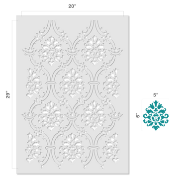 Small Royal Damask All Over Wall Stencil Size
